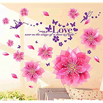 Decals Design StickersKart Wall Stickers Dreamy Pink Flowers Blowing (Multicolor)
