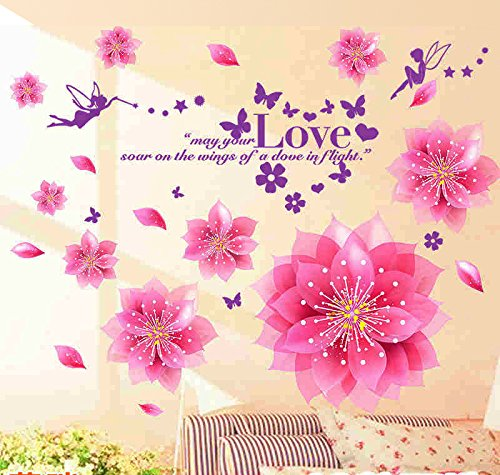 Decals Design 'Dreamy Pink Flowers Blowing' Wall Sticker (PVC Vinyl, 50 cm x 70 cm, Multicolour)