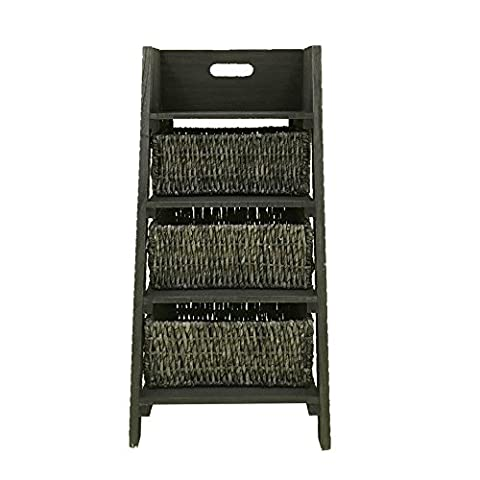 Rebecca srl Chest of Drawers Cabinet 3 Drawers 1 Tier Wicker Wood Grey Rustic Design Kitchen Living Room Bathroom (cod. x-1149)