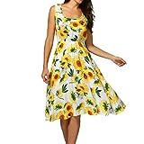Hmeng Frauen U-Ausschnitt Gedruckt Tank Kleid Strandkleid Sommerkleid Ärmellos Blumen Knielänge (Gelb, XL)