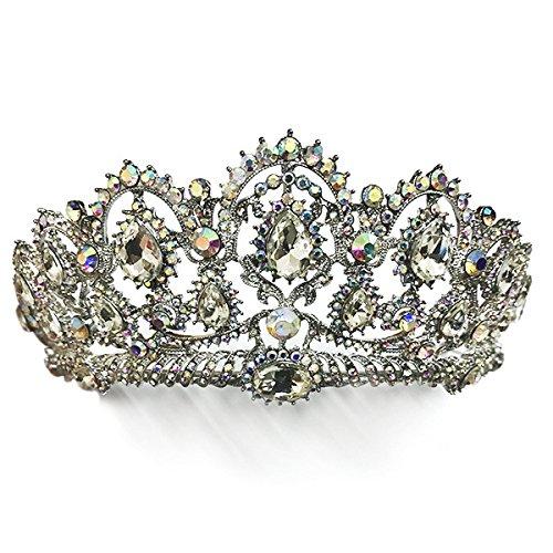 Pnizun Baroque RšŠtro Vintage Cristal AB MarišŠe Accessoires Cheveux Brides Mariage Bijoux de Cheveux Strass Pageant Robe Studio Tiara Couronne [Argent AB]