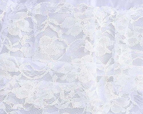 Edith qi Damen 6 Ring Verstellbar Unterrock Reifrock Petticoats Crinoline für Hochzeitskleider, One Size, Multi-Color Weiß Spitze