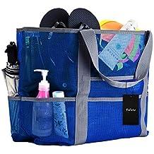 7b80226a47c5c Faleto XXL Netz-Strandtasche Familie Mesh-Strand-Tasche Netztasche für  Sandspielzeug