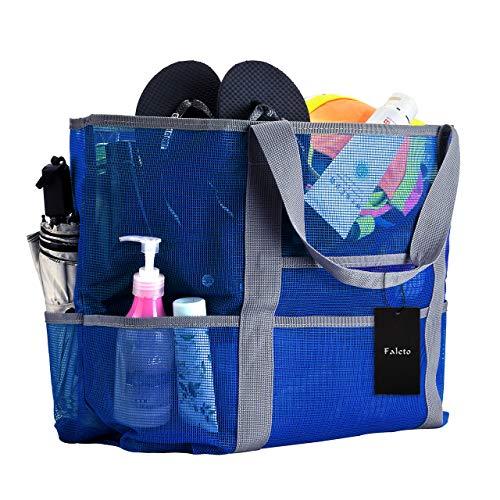 Faleto XXL Netz-Strandtasche Familie Mesh-Strand-Tasche Netztasche für Sandspielzeug, Extra Große Familie Mesh Beach Bag Tote, Grün/Blau/Schwarz/Rose Rot (Blau) (Große Netze)