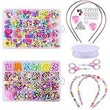 Gudotra Kit 960pcs Perles pour Enfants Coloré pour Fabrication de Bijoux Bracelets Colliers Serre-Tête Cadeau Anniversaire pour Filles en 2 Boîtes