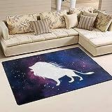 MUMIMI Galaxy Leo Hintergrund-Teppich, modern, Rutschfest, für Wohnzimmer, Esszimmer, Dekoration, weich, pflegeleicht, 78,7 x 50,8 cm, Polyester, Mehrfarbig, 60 x 39 inch