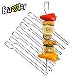 Bruzzzler Doppelspieße, verwendbar als Schaschlikspieße, Garnelenspieße, Geflügelspieße und Grillspieße, 39,5 x 9,5 x 4,5 cm