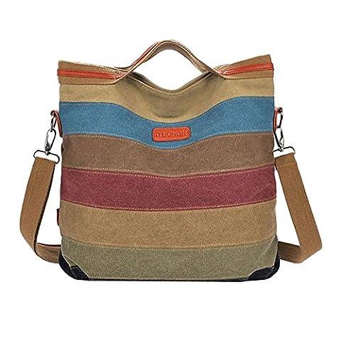Hobos Shoulder Bags, iTECHOR Multi-Color Women's Striped Canvas Totes Hobos Handbag Shoulder Cross-body