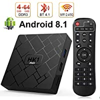 Android 8.1 TV Box, Android Box 4 GB RAM 64 GB ROM, Livebox HK1 MAX RK3328 Quad Core 64 bit Smart TV Box, Wi-Fi-Dual 5G/2.4G, BT 4.1, Box TV UHD 4K TV, USB 3.0