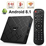 Android 8.1 TV BOX, Android Box con telecomando,LIVEBOX RK3328 Quad Core 64 bit 4 GB RAM 64 GB ROM Smart TV BOX, Wi-Fi integrato, Uscita HDMI, Box TV UHD 4K TV Box