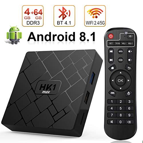 Android 8.1 TV BOX, Android Box 4 GB RAM 64 GB ROM, Livebox HK1 Quad Core 64 bit Smart TV BOX, Wi-Fi-Dual 5G/2.4G, BT 4.1, Box TV UHD 4K TV, USB 3.0