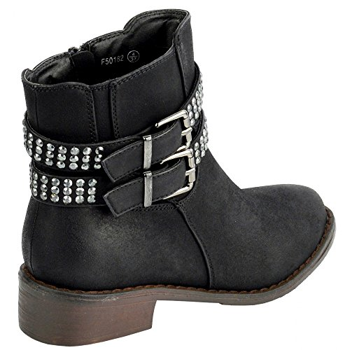 Kick Schuhe Damen Reißverschluss-bequeme Schuhe, flache Stiefelette Schwarz