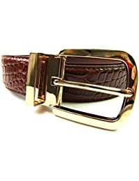 "Mens High Quality Brown Belt Croc Grain Gilt Metal Buckle 1.25"" Casual Formal"