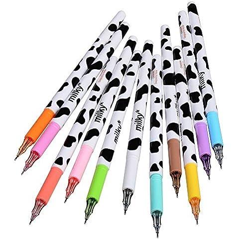 Szcxtop A, 10 pezzi, Set in plastica colorata con inchiostro Gel, punta di tipo Stationery-Pin Wave point