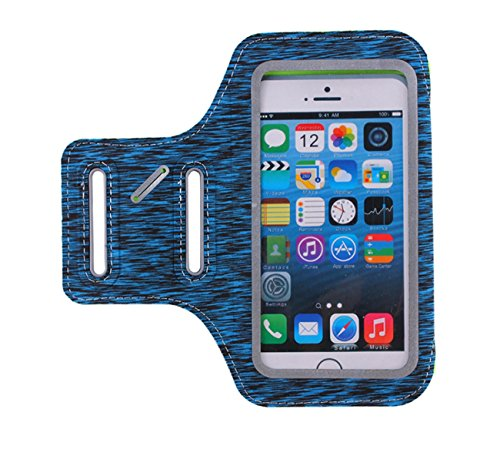Fashion Sport Running Armband Wasserdicht Sweatproof Running Armband Handyhalter Ultra Soft Verstellbare Outdoor Arm Pack Mit Kopfhörer Loch Schlüsselslots Reflektierende Strap Für IPhone6plus IPhone7plus Radfahren Jogging Walking Wandern Übung Frauen Mann ( Color : Blue , Edition : IPhone7plus )