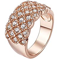 Yoursfs 18 ct oro rosa placcato Stunning Wedding Bands partito di sera diamante bling Dress Gioielli CZ Fidanzamento Regalo Di Natale Gioielli