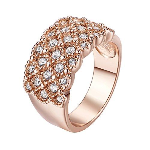 Yoursfs, splendido anello a fascia da donna da sera con brillanti luccicanti, gioiello alla moda placcato in oro rosa a 18 carati con pavé, anello per matrimonio, metallo placcato oro rosa 18 ct, 61 (19.4), cod. r036r1-19