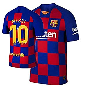 Barcelona Home KIT 2019-20 with MEESI Print ONLY Jersey (Medium)