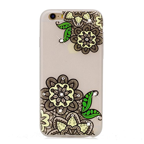 Cover iPhone 6S Plus, Custodia iPhone 6 Plus, CaseLover TPU Silicone Notte Luminosa Custodia per Apple iPhone 6S Plus / 6 Plus (5.5 pollici) Ultra Sottile Glitter Brillantini Bling Strass Caso Copertu Fiore