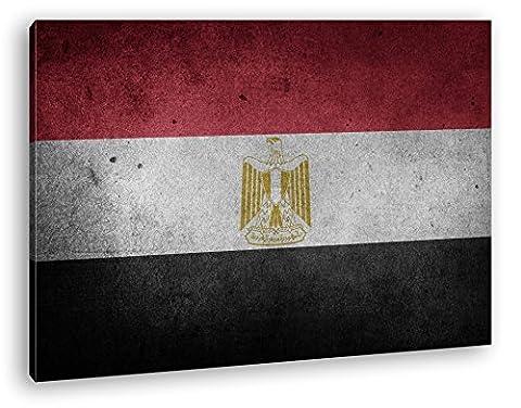Ägyptische Flagge Format: 120x80 als Leinwandbild, Motiv fertig gerahmt auf Echtholzrahmen, Hochwertiger Digitaldruck mit Rahmen, Kein Poster oder Plakat