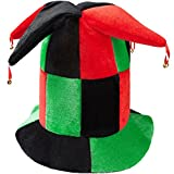 dressforfun 302062 Gran Sombrero de Bufón Cuatro Cuernos con Campanillas Doradas en la Punta, Sombrero de Tonos Verdes, Rojos y Negros