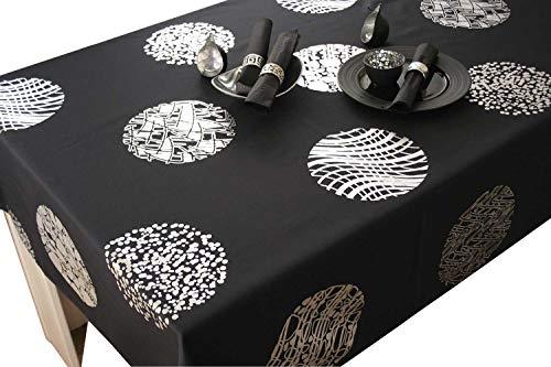 Le linge de Jules Nappe Cosmos - Entretien Facile Noir - Taille : Carrée 180x180 cm