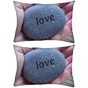 """Pack of 2 Love Pebble Rectangle Toss Throw Pillow Cushion Cover Decoarative Pillow Cover 12 x 18"""""""