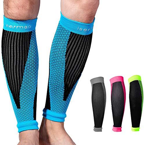 isermeo fascia a compressione polpaccio graduata, fasce a compressione polpacci per recupero e allenamento, gambaletti gamba gambali sport per uomo e donna per running, crossfit, blu