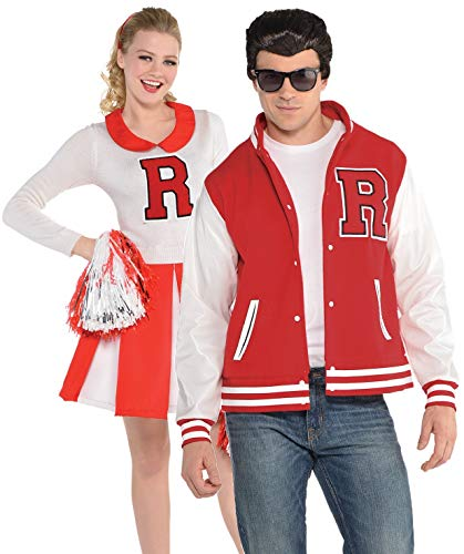1950s Cheerleader Couple Costumes for Man and Woman. Cheerleader dress and Letterman jacket