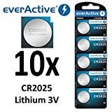 10 x everActive CR2025 Lithium 3Volt! CR 2025 Blister Neu Ø 20mm, Höhe 2,5mm