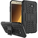 Kaira Hard Armor Hybrid Rubber Bumper Flip Stand Rugged Back Case Cover For Samsung Galaxy A5 (2017) (Black)