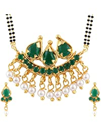 Parijaat Gold Plated Traditional Mangalsutra Pendant With Chain And Earrings For Women