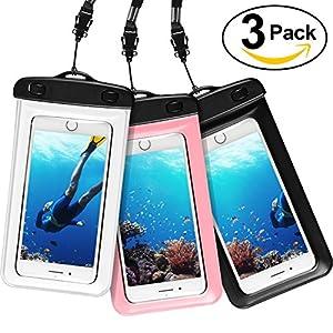[3 pièces] Pochette étanche, AROYI [Certifiée IPX8] Coque Etanche, Housse Étanche, Pochette Sac étanche, Etui Etanche Waterproof Case Bag Housse Coque Etui pour Apple iPhone 8/8 Plus/7/7 Plus/6/6S/6 Plus/SE/5S, Galaxy J5/A3/A5/S8/S7/S7 Edge/S6/S6 Edge, Huawei P10/P10 Lite/P9/P9 Lite Smartphones (Nior+Clear+Rose)