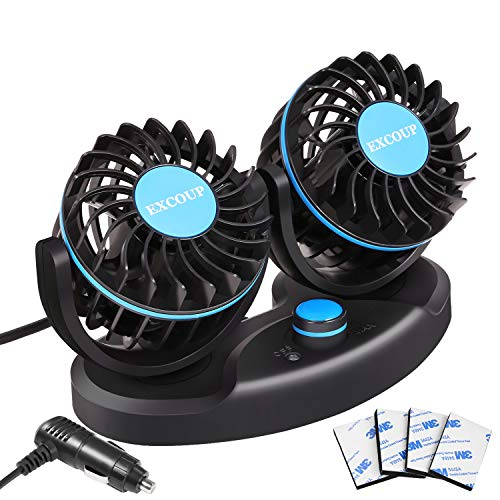 Car Fan 12V Electric Cooling Fan with Cigarette Lighter and Stepless Speed  Adjustable for Kids Pets back of Car Truck Van SUV RV Boat