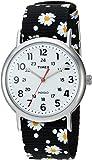 Timex TW2R24100 Weekender Black Floral Reversible Nylon Slip Thru Strap Women's Watch