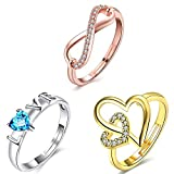 Om Jewells Valentine Gifts Cz Jewellery Combo of 3 Different Plating Adjustable Love