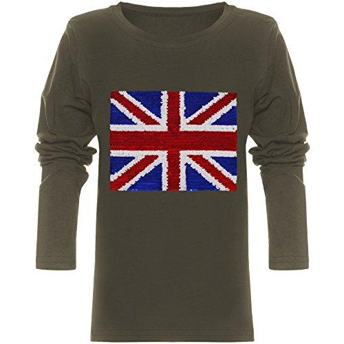 BEZLIT Jungen Langarmshirt Pulli Wende-Pailletten Sweat Shirt England 21731 Olivegrün Größe 152