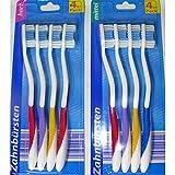 4er Pack Zahnbürsten Hart oder Mittel Zahnpflege Zähne Reise Zahnbürste Hand Hart