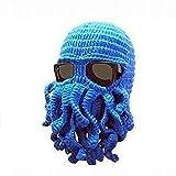 BANCN Neuheit Squid Knit Cap Erwachsene Barbar Bart Hat Mütze handgefertigt Octopus Hat–Blau