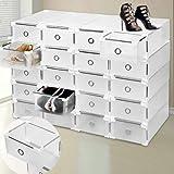 9Aufbewahrungsboxen für Schuhe aus Kunststoff, transparent, stapelbar, zusammenklappbar, hochwertig, für Damen und Herren