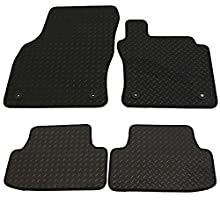 JVL Fully Tailored Rubber Car Mat Set with 4 Clips - Black