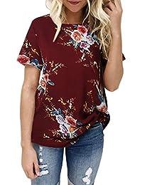 Camiseta Mujeres Señoras Sexy con Estampado Floral Casual Blusa con Mangas Cortas Absolute