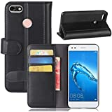 Huawei Enjoy 7 Case, Danallc Luxury PU Leather Wallet Flip Protective Wallet Case Cover With Card Slots And Stand For Huawei Enjoy 7 Black