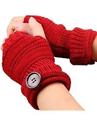 Demarkt 1 Paire Gants Femme Tricoté Demi-doigts élastiques Gants Arm pour Unisexe Automne Hiver Gants Chauds 16cm Rouge