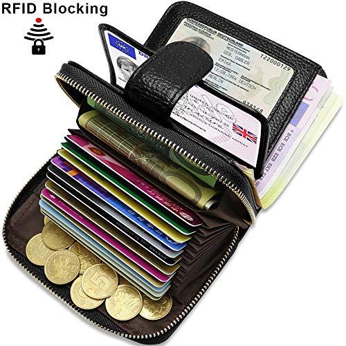ENONEO Kreditkartenetui RFID Schutz Kartenhalter Geldbörse Damen Leder mit 12 Karten 4 ID Windows & 2 Geld Münzfach Fächer Geldbeutel Damen Klein Portemonnaie Frauen (Schwarz)