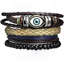 Young & Forever Men-Tastic Multilayer Set of 4 Leather Beads Evil Eye Unisex Gift Bracelets (B55324)