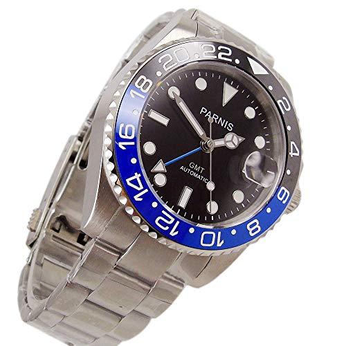 Parnis - Reloj con Esfera estéril de 40 mm de Grosor, Color Negro, Cristal de Zafiro,...