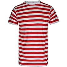 TrendyFashion - Camiseta - Rayas - Cuello redondo - Manga corta - para hombre