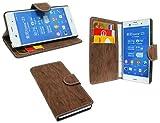 ENERGMiX Elegante Buch-Tasche für Sony Xperia Z3 (D6603) in Braun Wallet Book-Style