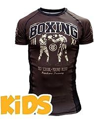 Kids Rashguard Hardcore Training Kids Short Sleeves-8 years MMA BJJ Fitness Camiseta de compresión Niño